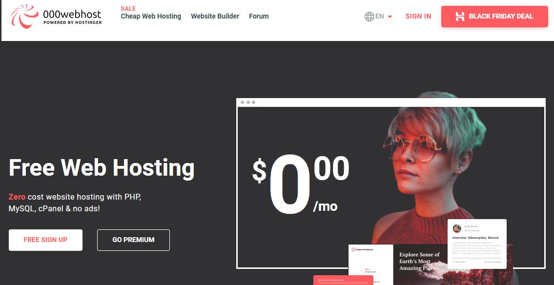 Free Web hosting provider 000webhost