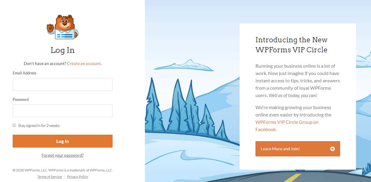 WPForms custom WordPress login page