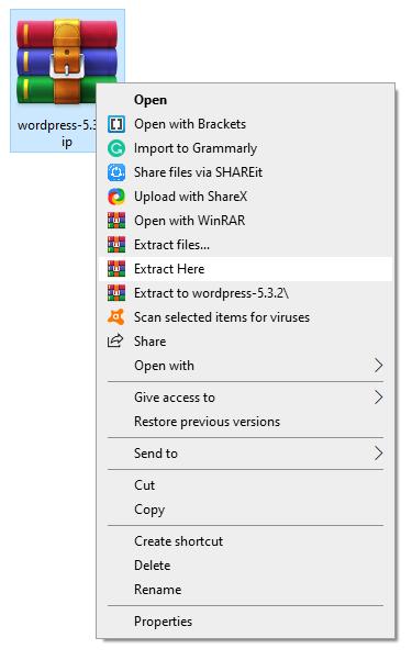 extract wordpress