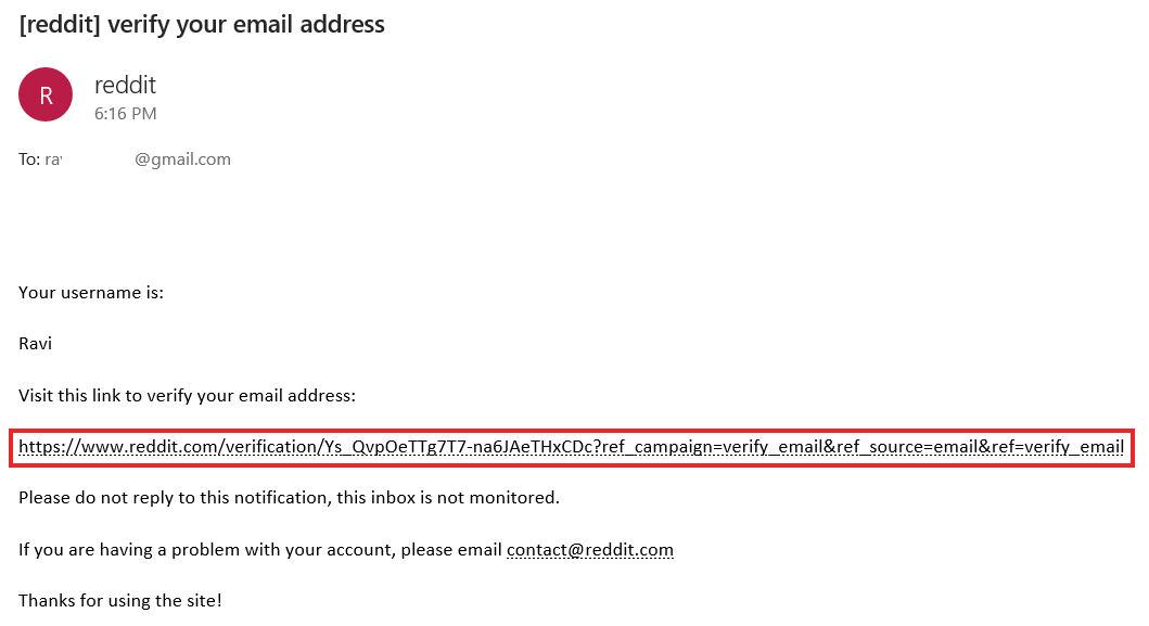 Verification email