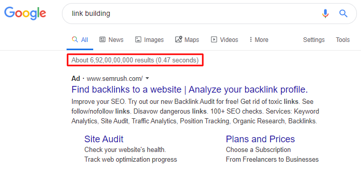 link building SEO results