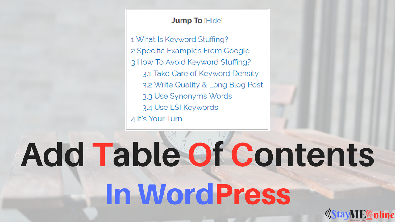 How To Add Table Of Contents In WordPress?