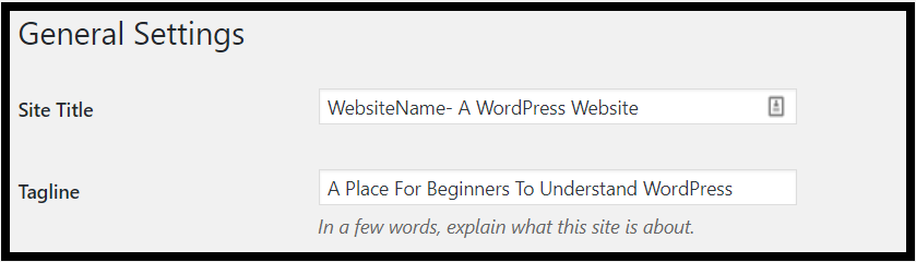 Site Name And Tagline WordPress