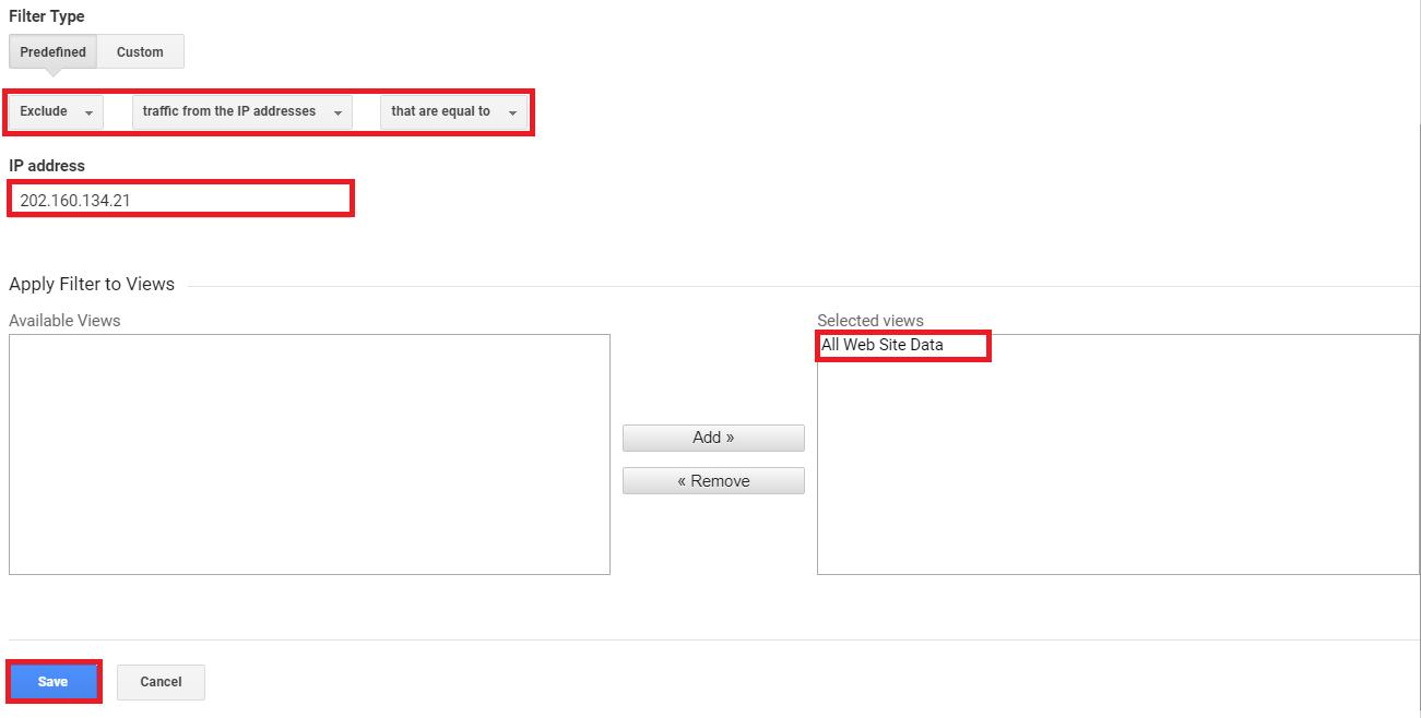 Google Analytics Filter