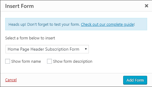 WPForms add forms