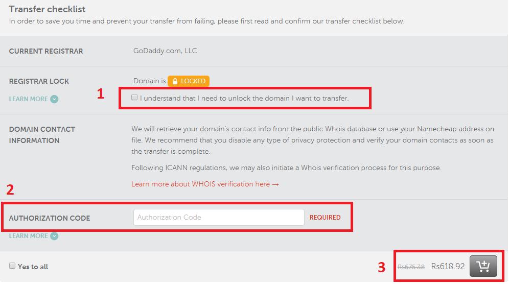 NameCheap Domain Transfer Checklist