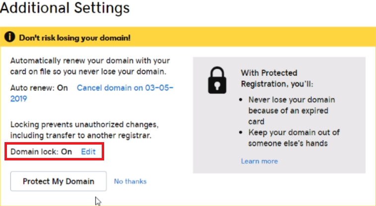 Unlock Domain GoDaddy