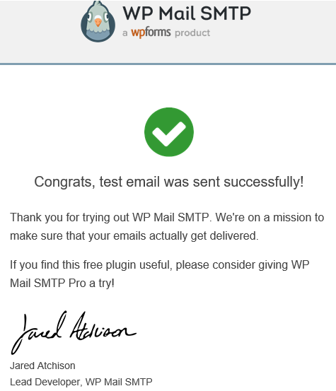 Congrats Email from WP Mail SMTP