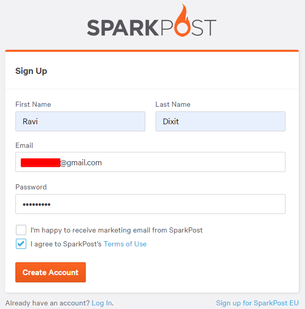 Signup for SparkPost
