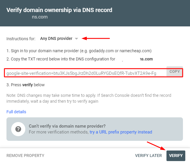 Verify your Domain GSC