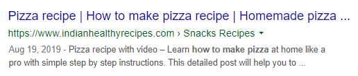 pizza recipe without Schema markup