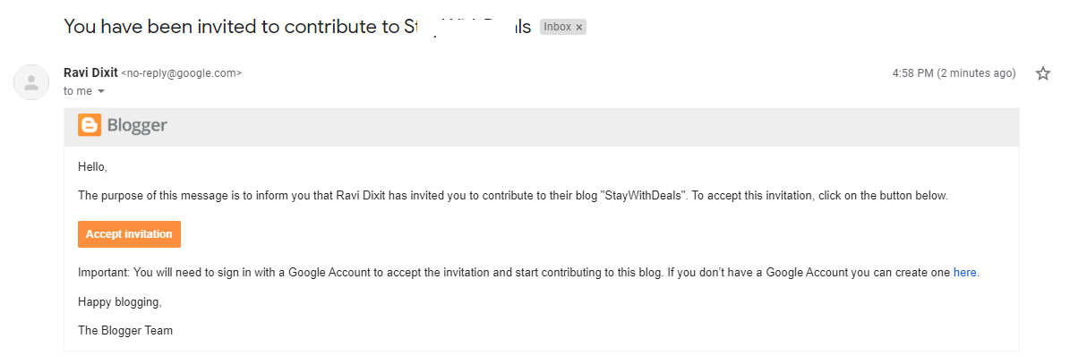 change blogger email