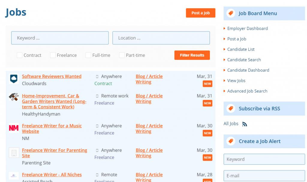 find micro jobs at Problogger Job board