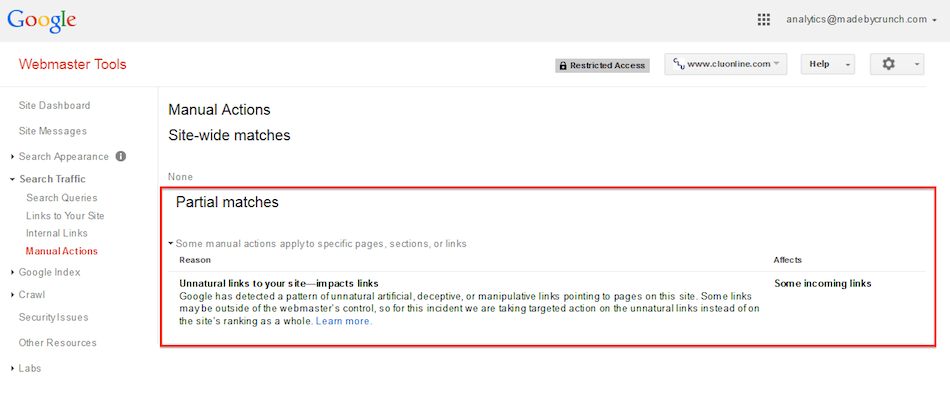 GSC Confirmed Google penalty