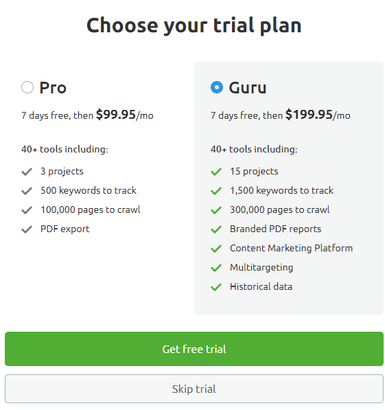 Choose your trial plan