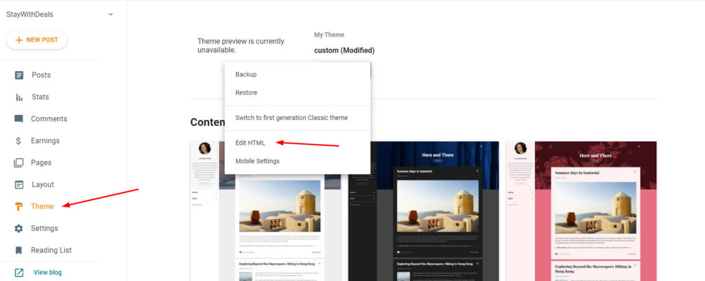 hide contact form in blogger